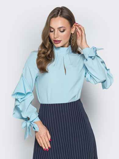 Голубая блузка с с завязками на рукавах 19418, фото 1