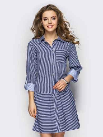 Хлопковое платье-рубашка в полоску с карманами серое - 13589, фото 2 – интернет-магазин Dressa