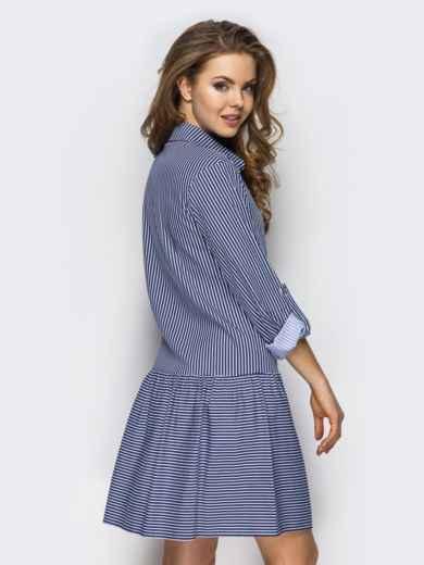 Хлопковое платье-рубашка в полоску с карманами серое - 13589, фото 3 – интернет-магазин Dressa