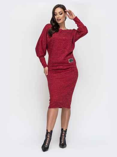Красный костюм большого размера из кофты и юбки 44488, фото 1