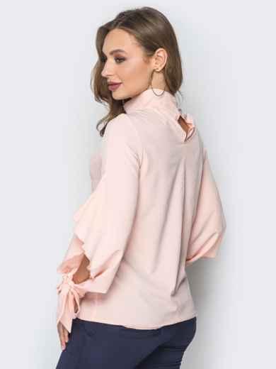 Розовая блузка с завязками на рукавах 19417, фото 3