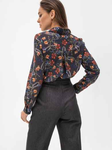 Рубашка прямого кроя с цветочным принтом чёрная 51546, фото 3