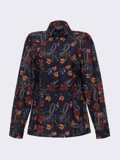 Рубашка прямого кроя с цветочным принтом чёрная 51546, фото 5