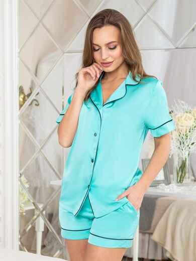 Шелковая пижама с окантовкой на рубашке и шортах бирюзовая - 20709, фото 1 – интернет-магазин Dressa