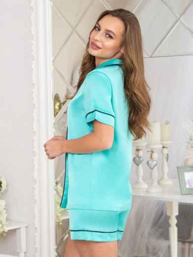 Шелковая пижама с окантовкой на рубашке и шортах бирюзовая - 20709, фото 2 – интернет-магазин Dressa
