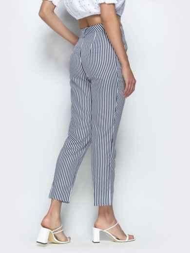 Укороченные брюки в полоску чёрные 39520, фото 2