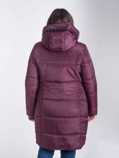 Зимняя куртка бордового цвета из плащевки с капюшоном - 17715, фото 2 – интернет-магазин Dressa