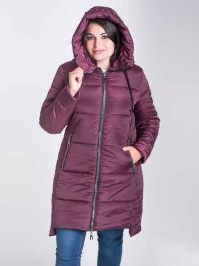 Зимняя куртка бордового цвета из плащевки с капюшоном - 17715, фото 3 – интернет-магазин Dressa