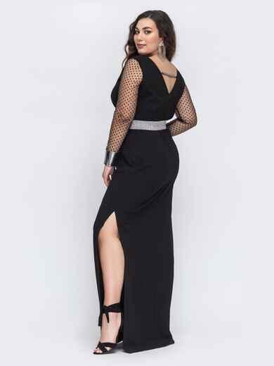 Чёрное платье в пол большого размера с вырезом по спинке 43777, фото 1