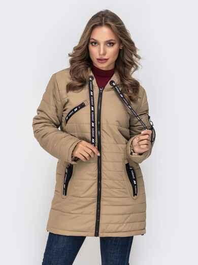 Демисезонная куртка с капюшоном и карманами бежевая 40226, фото 1