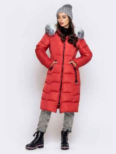 Длинная куртка со съемным капюшоном коралловая - 40161, фото 2 – интернет-магазин Dressa