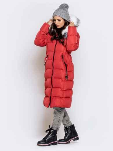 Длинная куртка со съемным капюшоном коралловая - 40161, фото 3 – интернет-магазин Dressa