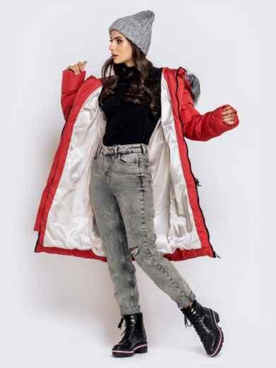 Длинная куртка со съемным капюшоном коралловая - 40161, фото 5 – интернет-магазин Dressa