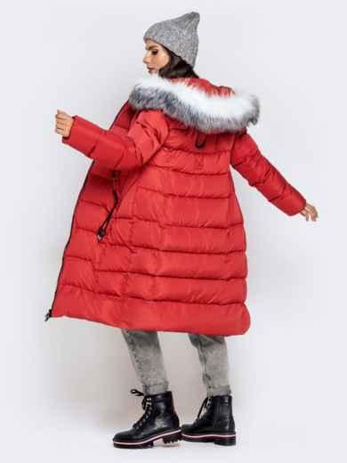 Длинная куртка со съемным капюшоном коралловая - 40161, фото 6 – интернет-магазин Dressa