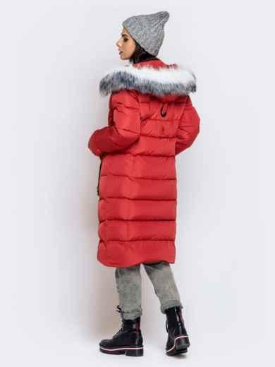 Длинная куртка со съемным капюшоном коралловая - 40161, фото 7 – интернет-магазин Dressa