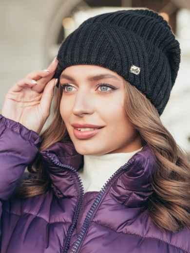 Черная шапка с подворотом 55383, фото 1