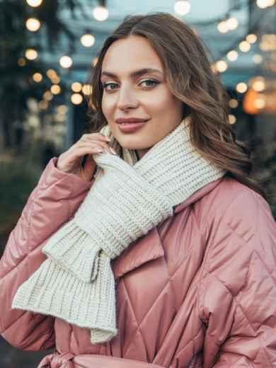 Базовый вязаный шарф бежевого цвета 55386, фото 1