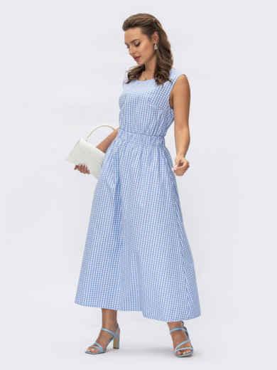 Голубое платье-клеш из хлопка в клетку с вырезом по спинке 54416, фото 1