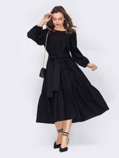 Платье из софта черного цвета с юбкой-клеш 53509, фото 1
