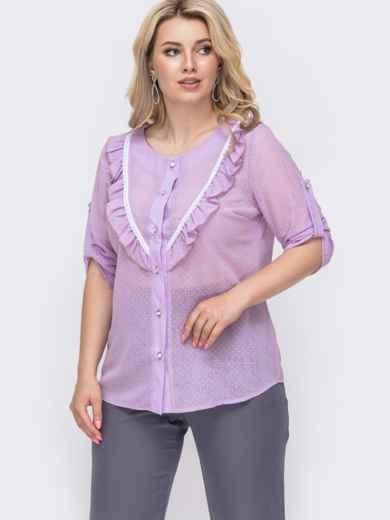 Фиолетовая блузка батал из шифона в мелкий горох 50004, фото 1