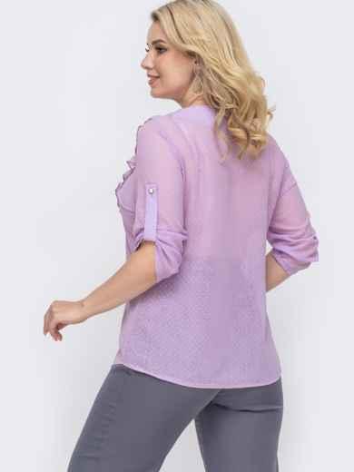 Фиолетовая блузка батал из шифона в мелкий горох 50004, фото 2