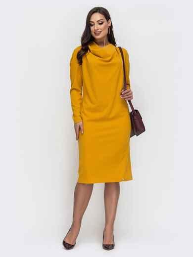 Горчичное платье большого размера с воротником-хомут 43783, фото 1