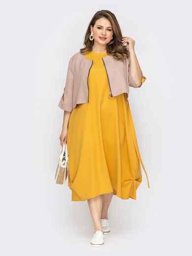 Костюм большого размера с платьем и жакетом желтый 53725, фото 1