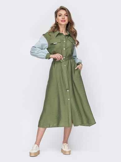 Платье-рубашка цвета хаки с длинным рукавом 53498, фото 1