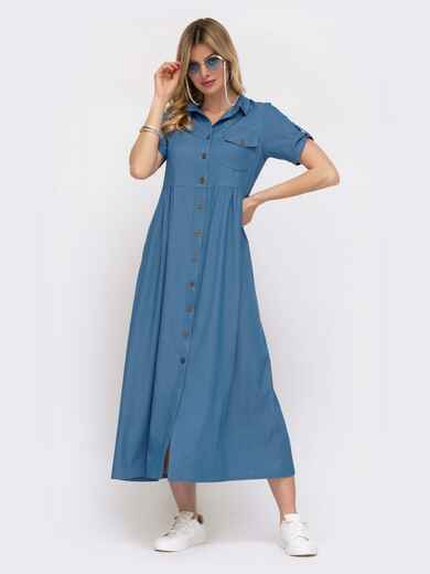 Платье-рубашка в пол из облегченного денима голубое 48040, фото 1