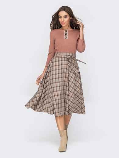 Платье с расклешенной юбкой бежевого цвета в клетку 53499, фото 1
