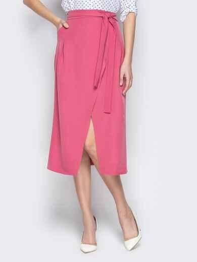 Розовая юбка-миди с запахом 20947, фото 1