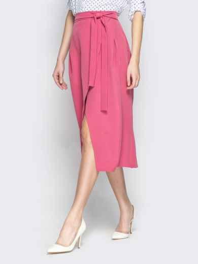 Розовая юбка-миди с запахом - 20947, фото 2 – интернет-магазин Dressa