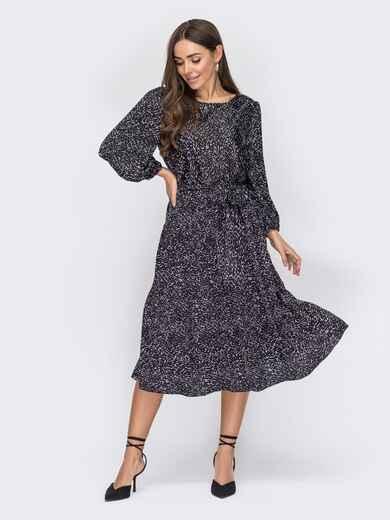 Шелковое платье с принтом и юбкой-клеш черное 53508, фото 1