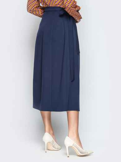 Тёмно-синяя юбка-миди с запахом 20946, фото 3