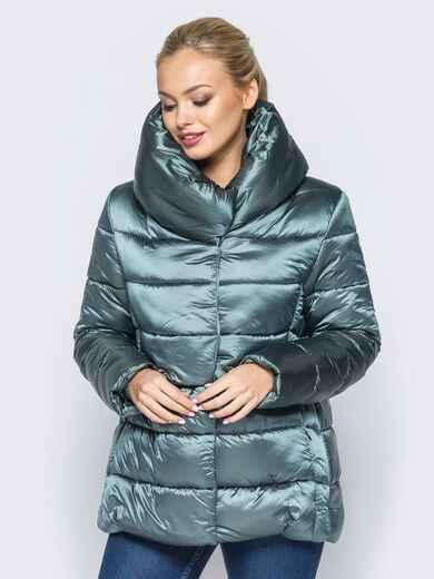 Укороченная куртка с объемным воротником зелёного цвета - 16984, фото 1 – интернет-магазин Dressa