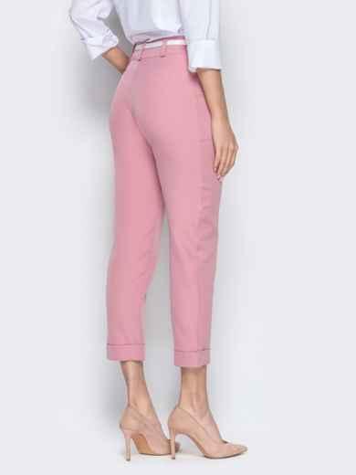 Укороченные брюки розового цвета с подворотами 20941, фото 3