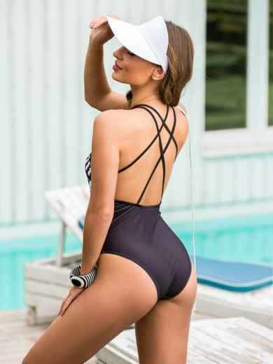Закрытый купальник с геометрическим принтом чёрный - 39152, фото 2 – интернет-магазин Dressa