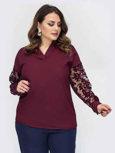 Бордовая блузка большого размера с фатиновыми рукавами 44375, фото 1