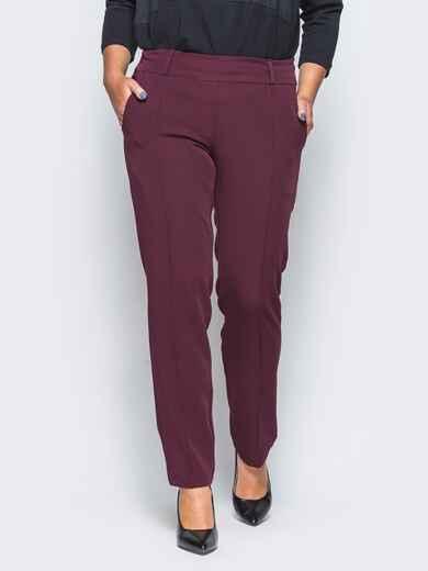 Бордовые женские брюки со стрелками - 16611, фото 1 – интернет-магазин Dressa