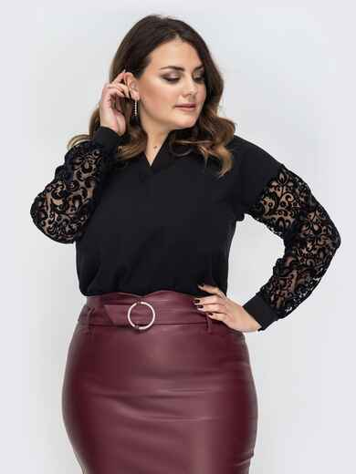 Чёрная блузка большого размера с фатиновыми рукавами 44374, фото 1