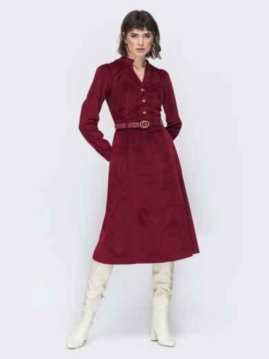 Бордовое платье из вельвета 45070, фото 1