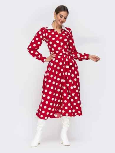 Платье-рубашка красного цвета в крупный горох 42225, фото 1