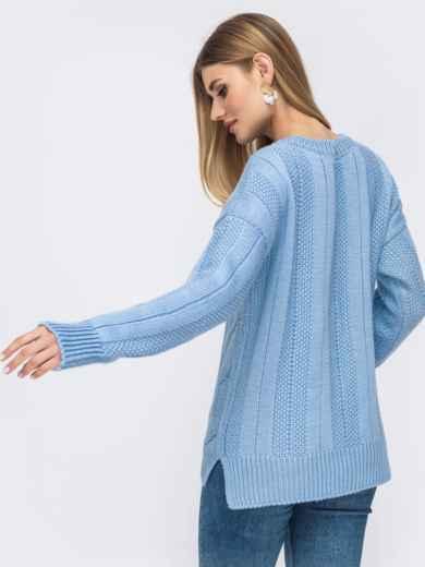 Голубой свитер с удлиненной спинкой - 43133, фото 2 – интернет-магазин Dressa