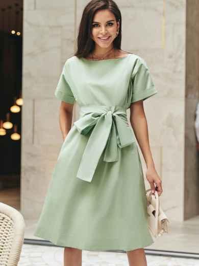 Хлопковое платье с короткими рукавами и поясом в комплекте зеленое 54688, фото 1