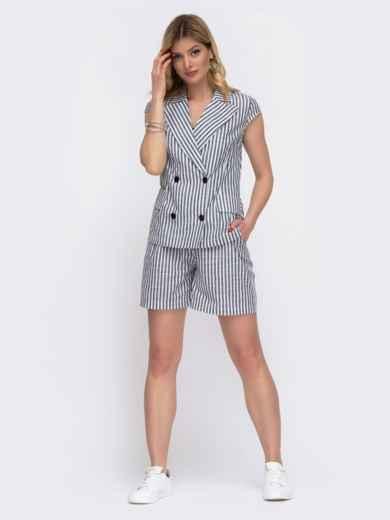 Комплект из жакета и шорт в серую полоску - 48033, фото 2 – интернет-магазин Dressa