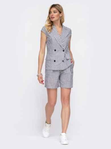 Комплект из жакета и шорт в серую полоску - 48033, фото 3 – интернет-магазин Dressa