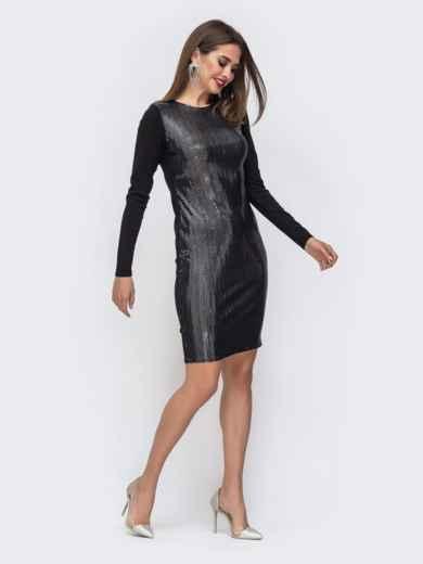 Обтягивающее платье с пайетками чёрное - 42814, фото 2 – интернет-магазин Dressa