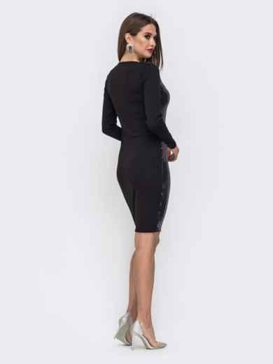 Обтягивающее платье с пайетками чёрное - 42814, фото 3 – интернет-магазин Dressa