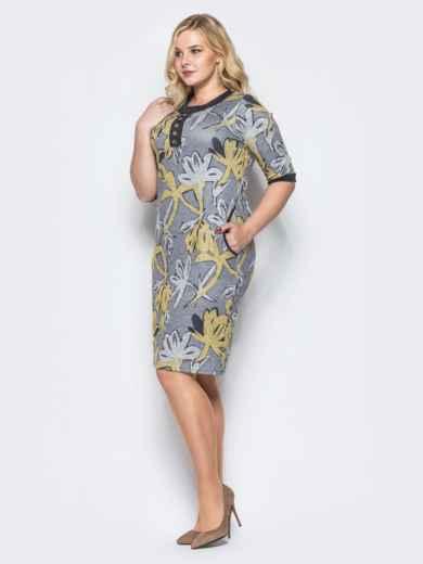 Платье из трикотажа «ангора» с нитью люрекса серое - 16675, фото 2 – интернет-магазин Dressa