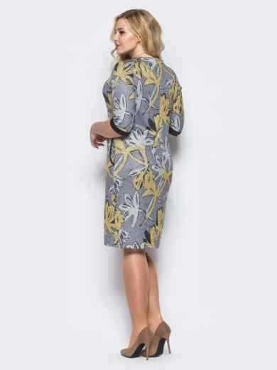 Платье из трикотажа «ангора» с нитью люрекса серое - 16675, фото 3 – интернет-магазин Dressa